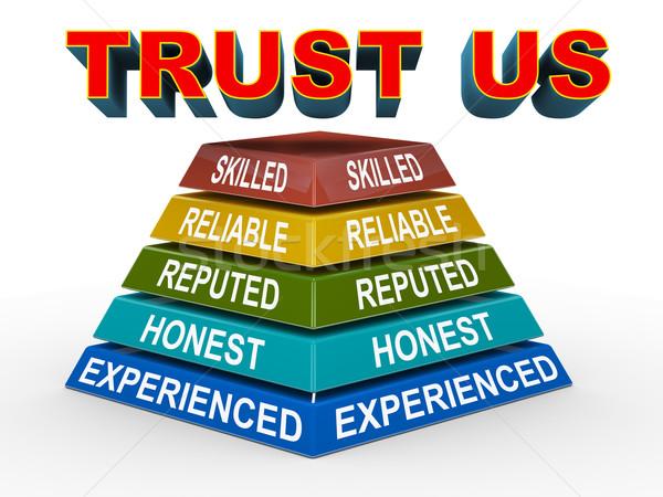 3d trust us concept pyramid Stock photo © nasirkhan