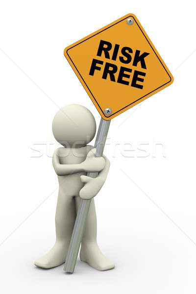 3d man with risk free sign board Stock photo © nasirkhan