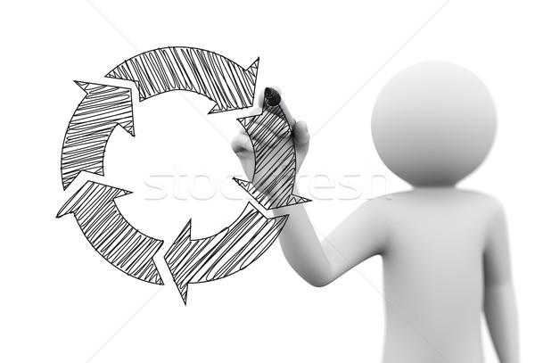 3d kişi çizim akış şeması şeffaf ekran 3D Stok fotoğraf © nasirkhan