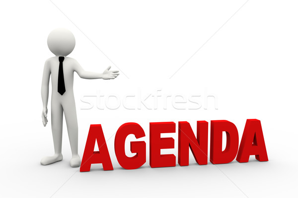 3d businessman with word agenda Stock photo © nasirkhan
