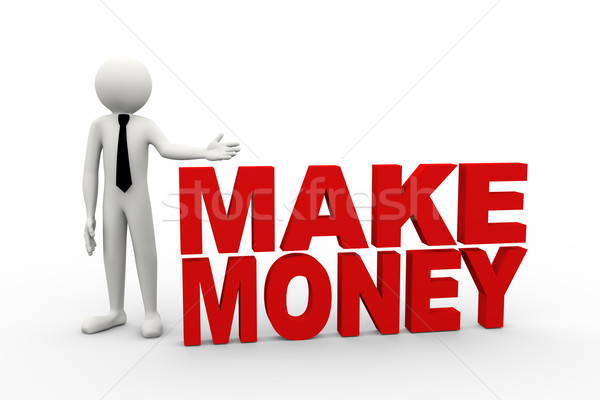 Stock photo: 3d businessman with word make money