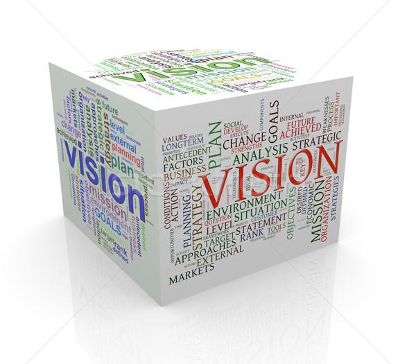 Stockfoto: 3D · kubus · woord · visie