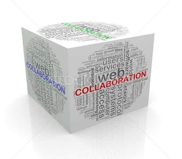3D cube mot collaboration Photo stock © nasirkhan
