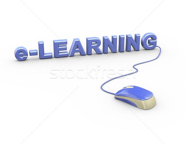 3D egér csatolva szó szöveg online oktatás Stock fotó © nasirkhan