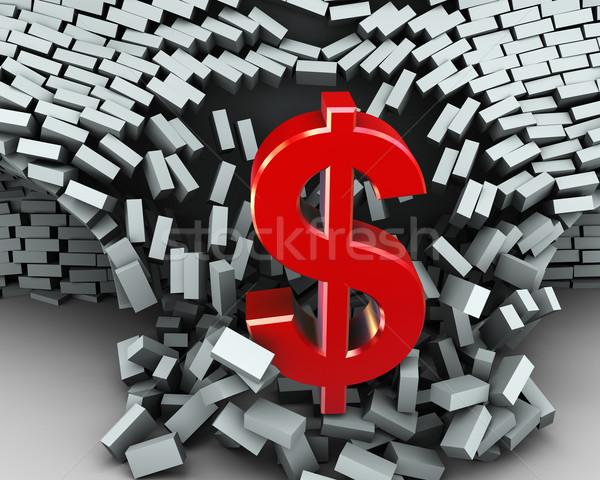 3d dollar symbol wall break Stock photo © nasirkhan