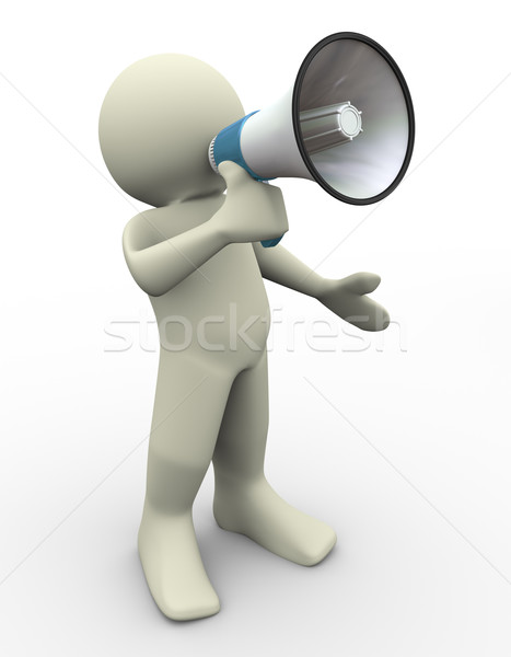 3d man with megaphone Stock photo © nasirkhan