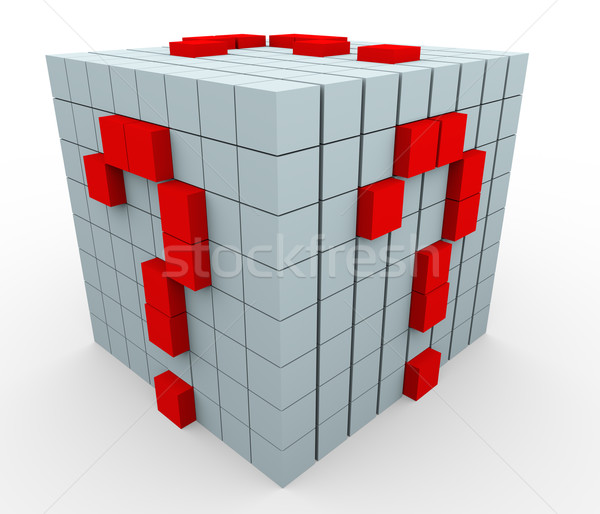 3D interrogation cubes rendu 3d blanche affaires Photo stock © nasirkhan