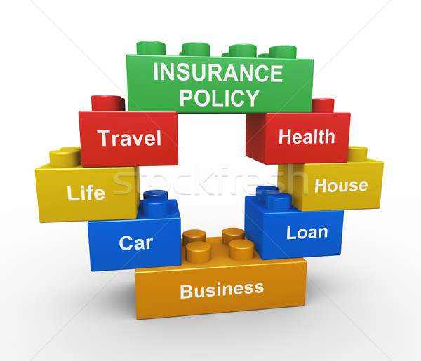 3d insurance policy child toy block Stock photo © nasirkhan