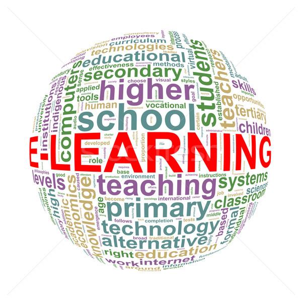 Szófelhő szó címkék labda online oktatás illusztráció Stock fotó © nasirkhan