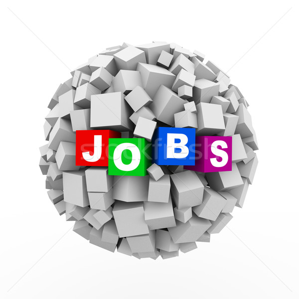 Stock photo: 3d cubes boxes sphere ball - jobs
