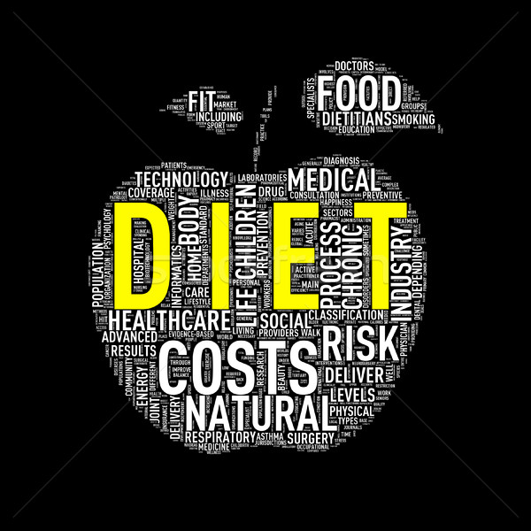Healthcare apple shape wordcloud diet Stock photo © nasirkhan