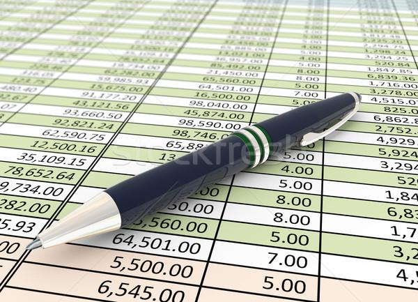 3D pióro arkusza finansowych arkusz kalkulacyjny papieru Zdjęcia stock © nasirkhan