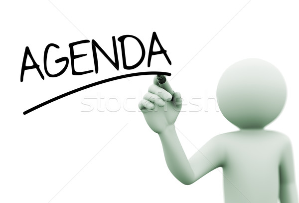 3d person writing agenda on transparent screen Stock photo © nasirkhan