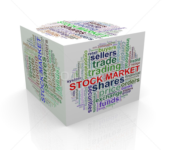 3d cube word tags wordcloud of stock market Stock photo © nasirkhan