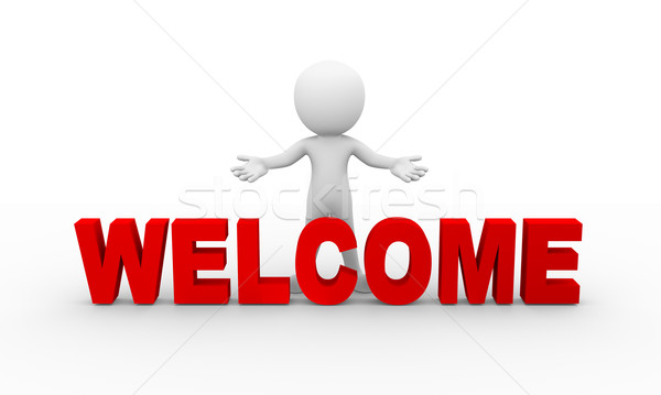 3d open arm welcome gesture posture pose Stock photo © nasirkhan