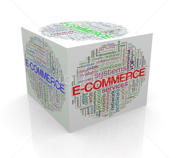 3D cube mot ecommerce Photo stock © nasirkhan