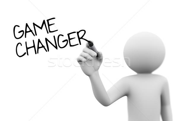 3d man writing game changer Stock photo © nasirkhan