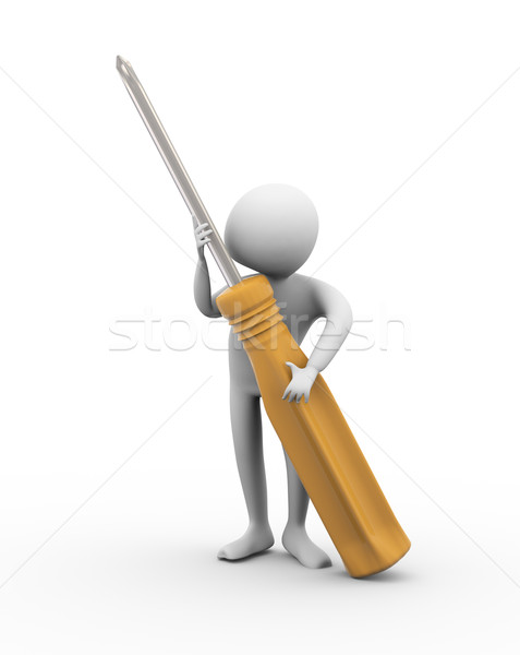 3d man with screw driver Stock photo © nasirkhan