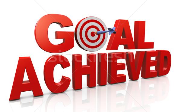 Ziele 3d render Wort Ziel erreicht Dart Stock foto © nasirkhan