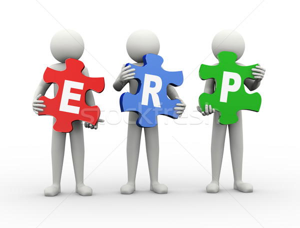 3d man puzzle piece - erp Stock photo © nasirkhan