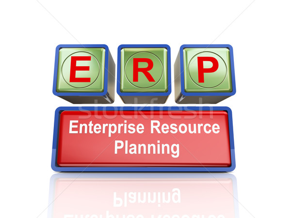 3d boxes of concept of erp Stock photo © nasirkhan
