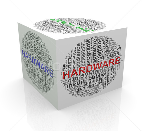 3d cube word tags wordcloud of hardware Stock photo © nasirkhan