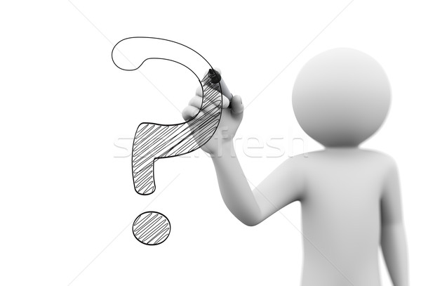 3d person drawing question mark symbol on transparent screen Stock photo © nasirkhan