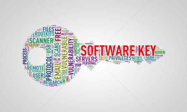 Key shape wordcloud tag software key Stock photo © nasirkhan