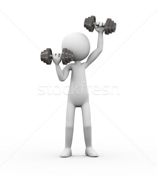 3d man gym dumbbell exercise Stock photo © nasirkhan