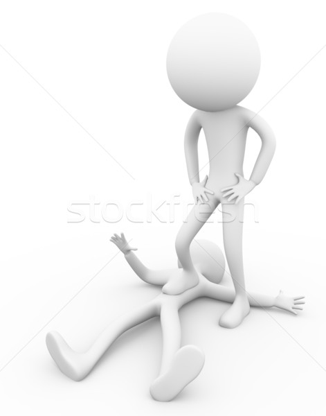 Winnaar verliezer 3D man poseren voet Stockfoto © nasirkhan