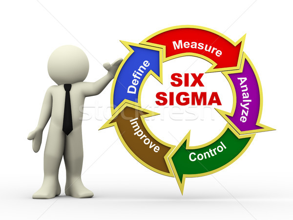 3d businessman and six sigma flowchart Stock photo © nasirkhan