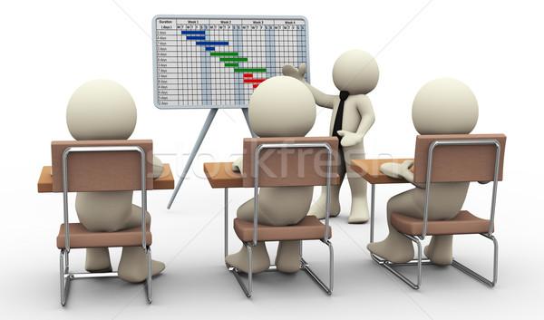 3d man gantt chart presentation Stock photo © nasirkhan