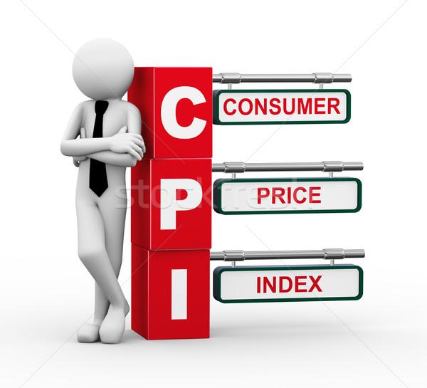 3d businessman with cpi signpost illustration Stock photo © nasirkhan
