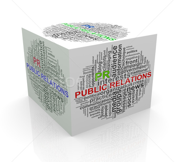 3d cube word tags wordcloud of public relations Stock photo © nasirkhan