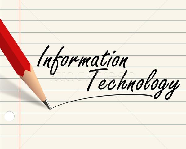 Ceruza papír informatika illusztráció írott szó Stock fotó © nasirkhan