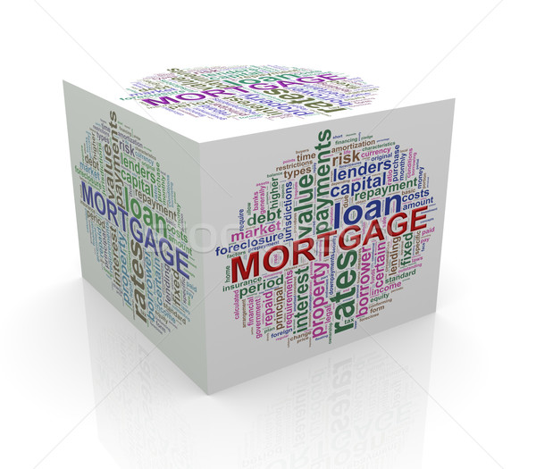 Stock photo: 3d cube word tags wordcloud of mortgage