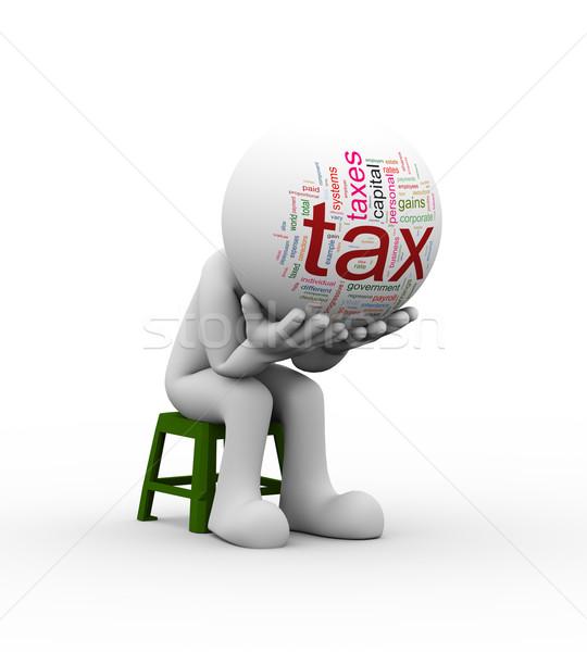 Foto d'archivio: 3D · frustrato · uomo · bisogno · fiscali · help