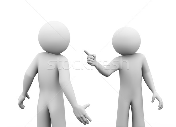 Stock photo: 3d people dispute fight