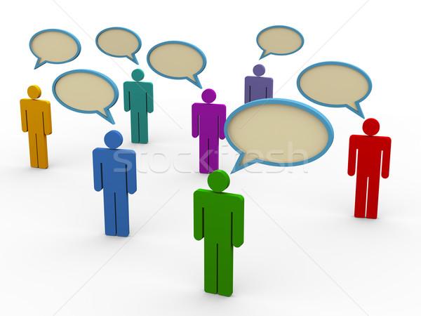 3d pessoas bolha discurso ilustração 3d homem símbolos Foto stock © nasirkhan