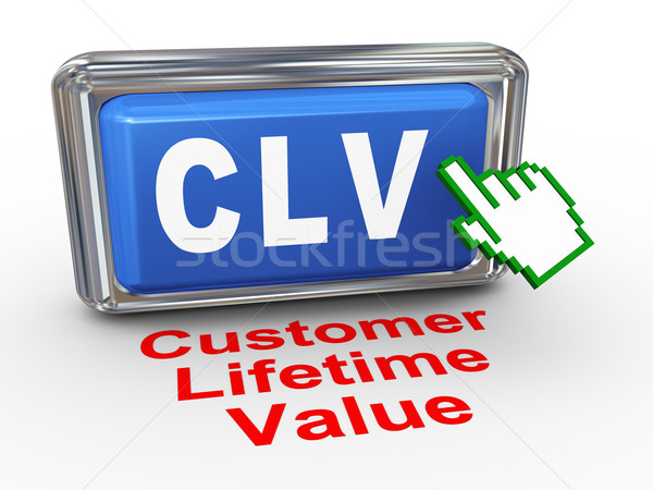 3d hand cursor - clv - customer lifetime value button Stock photo © nasirkhan