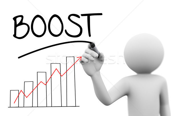 3d person writing boots on transparent screen Stock photo © nasirkhan