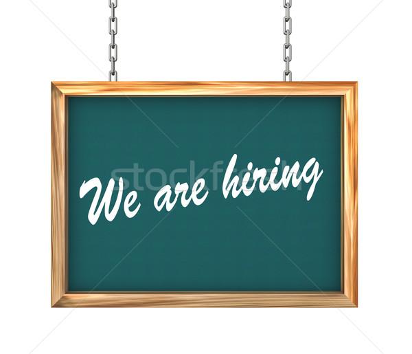 3d hanging banner - we are hiring Stock photo © nasirkhan