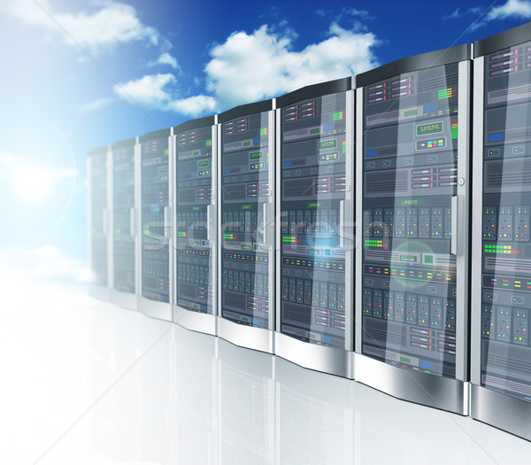 3d network servers datacenter and sky cloud background Stock photo © nasirkhan