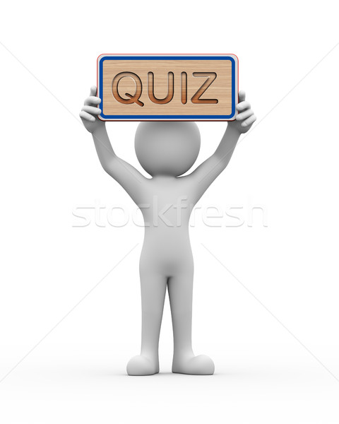 3d man holding engraved banner word text quiz Stock photo © nasirkhan