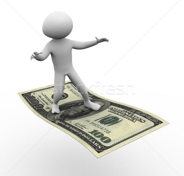 3次元の男 ドル 飛行 男 幸せ 現金 ストックフォト © nasirkhan