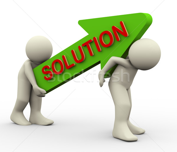 3d people carrying solution arrow Stock photo © nasirkhan
