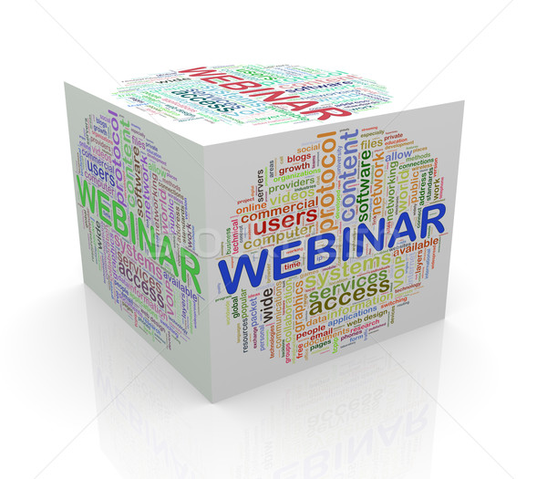 3d cube word tags wordcloud of webinar Stock photo © nasirkhan