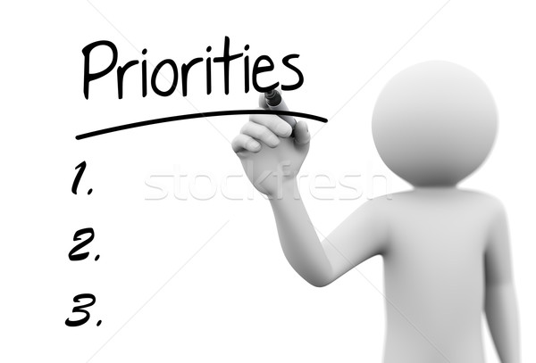Stock photo: 3d person writing priorities on transparent screen