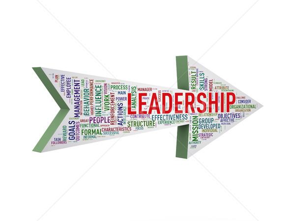3d arrow shape wordtag wordcloud leadership Stock photo © nasirkhan