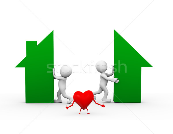 3d heart and family dispute home separation Stock photo © nasirkhan